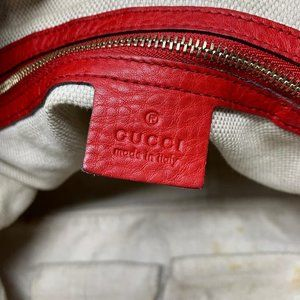 Gucci Bags - 100% Auth Gucci Soho Red Calfskin Shoulder Bag